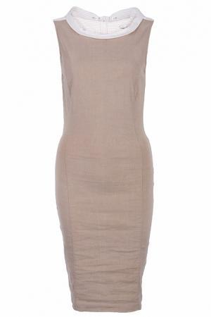 Платье футляр с застежкой сзади Alter Ego. Цвет: коричневый