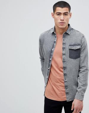 Only & Sons Джинсовая рубашка классического кроя. Цвет: серый