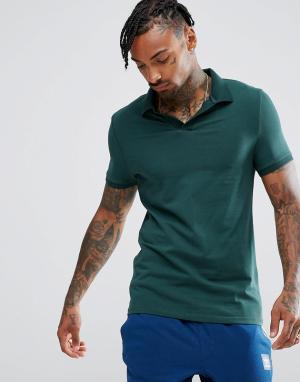 ASOS Трикотажная облегающая футболка-поло с отложным воротником. Цвет: зеленый