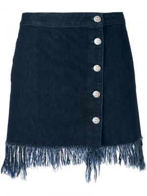 Frayed denim skirt 3X1. Цвет: синий