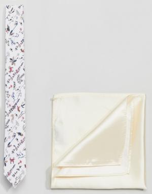 Gianni Feraud Галстук с принтом и однотонный платок-паше. Цвет: кремовый