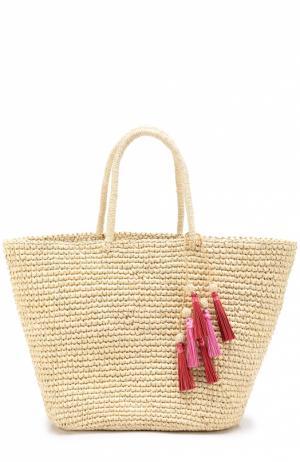Плетеная сумка с брелоком Sensi Studio. Цвет: бежевый