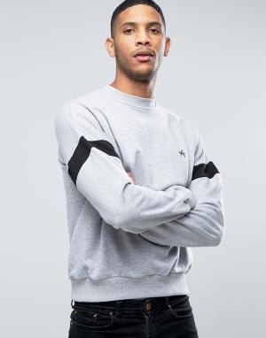 Antioch Oversize-свитер с полосой на рукавах и вышитой буквой А. Цвет: серый