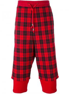 Укороченные брюки в клетку D.Gnak. Цвет: красный