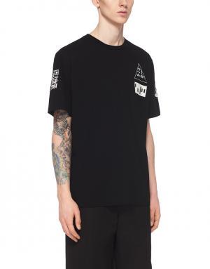 Хлопковая футболка Alexander Wang. Цвет: черный