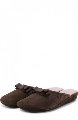 Замшевые домашние туфли с бантом Homers At Home. Цвет: темно-коричневый