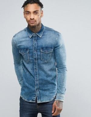 Pepe Jeans Узкая джинсовая рубашка стретч цвета индиго Jepson. Цвет: синий