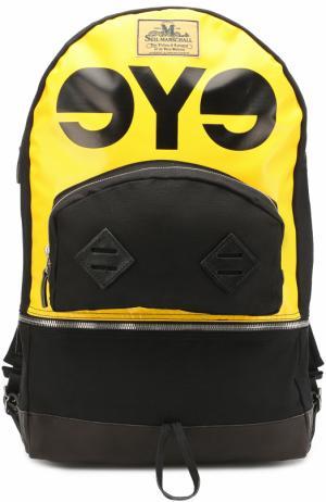 Текстильный рюкзак с кожаной отделкой Junya Watanabe. Цвет: желтый