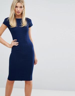 Closet London Облегающее платье в рубчик с короткими рукавами. Цвет: темно-синий