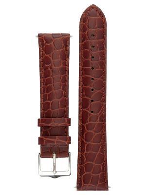 Гипоаллергенный ремешок для часов из кожи теленка с фактурой под крокодила. Ширина от 14 до 22 мм. Signature. Цвет: темно-коричневый