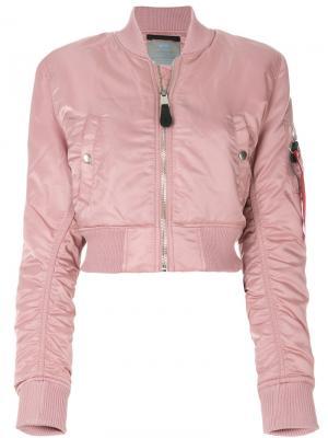 Укороченная куртка-бомбер Alpha Industries. Цвет: розовый и фиолетовый