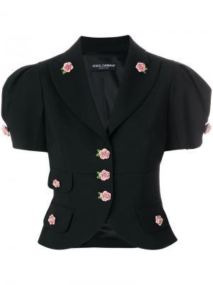 Укороченный пиджак с розочками Dolce & Gabbana. Цвет: чёрный
