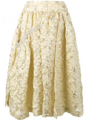 Расклешенная юбка с вышивкой Simone Rocha. Цвет: металлический