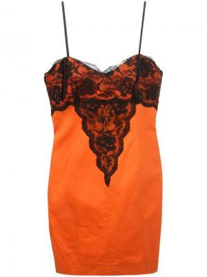 Платье с кружевной отделкой Alberta Ferretti Vintage. Цвет: жёлтый и оранжевый