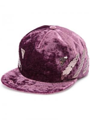 Бархатная кепка с пайетками Off-White. Цвет: розовый и фиолетовый