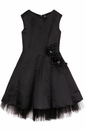 Приталенное платье-миди с цветочным декором David Charles. Цвет: черный