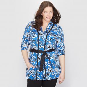 Жакет-кимоно с цветочным мотивом TAILLISSIME. Цвет: рисунок цветочный синий