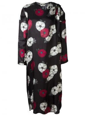 Платье миди с цветочным принтом Hache. Цвет: чёрный