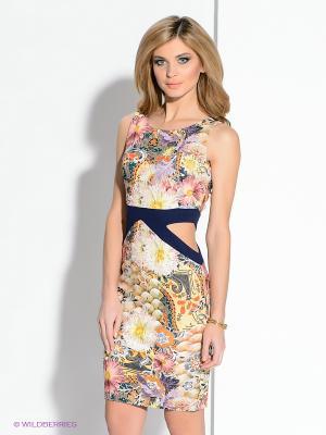 Платье MARY MEA. Цвет: желтый, синий