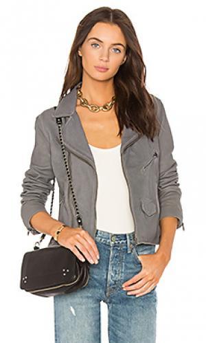 Байкерская кожаная куртка stonewash vintage June. Цвет: серый