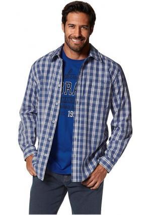 Комплект: рубашка + футболка MANS WORLD MAN'S. Цвет: синий/белый в клетку+королевский синий