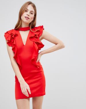 Glamorous Платье с чокером и оборками. Цвет: красный