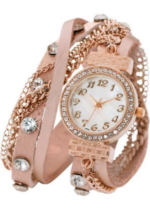 Наручные часы-браслеты Майри (розовый/розово-золотистый) bonprix. Цвет: розовый/розово-золотистый