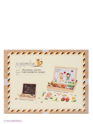 Чудо-чемоданчик Друзья (доска для рисования, меловая доска, фигурки на магнитах) MAPACHA. Цвет: бежевый