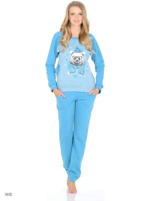 Утепленный домашний костюм  (кофта, брюки) HomeLike. Цвет: серо-голубой