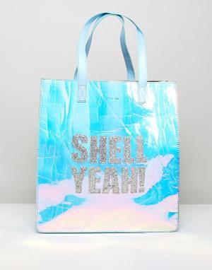 Skinnydip Переливающаяся сумка с надписью Shell Yeah. Цвет: мульти