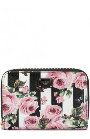 Кожаное портмоне на молнии с цветочным принтом Dolce & Gabbana. Цвет: черно-белый