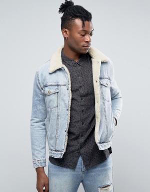 Rollas Джинсовая куртка на подкладке из искусственного меха. Цвет: синий