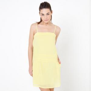 Платье с тонкими бретелями COLOR BLOCK. Цвет: желтый