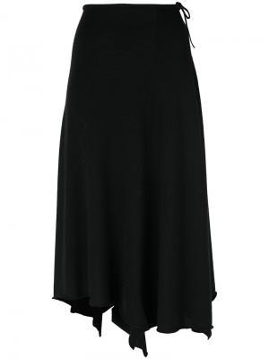 Асимметричная трикотажная юбка Cividini. Цвет: чёрный