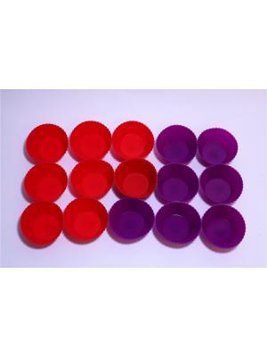Набор форм силиконовых 16шт, 6.5x3.3см, Кекс. Vetta. Цвет: фиолетовый, красный