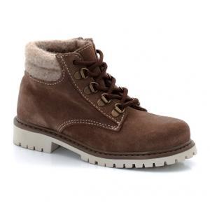 Ботинки из замши на шнуровке и меховой подкладке R kids. Цвет: серо-коричневый