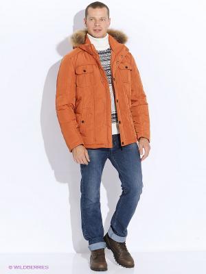 Пуховик Finn Flare. Цвет: оранжевый