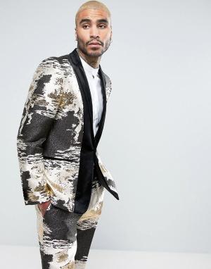 ASOS Облегающий жаккардовый пиджак-смокинг цвета металлик с бархатной отдел. Цвет: золотой