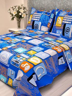 Комплект постельного белья детский Letto Смартфон, нав-ка 50х70, 100% хлопок. Цвет: синий