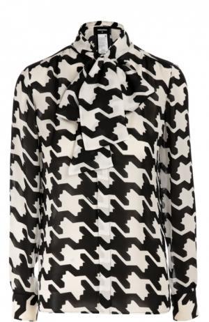Шелковая блуза с принтом гусиная лапка и воротником-аскот Dsquared2. Цвет: черно-белый