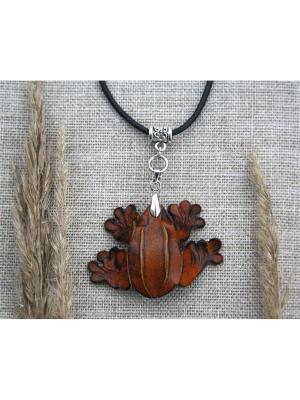 Кулон Лягушка Мастер ГРиСС. Цвет: светло-коричневый, рыжий
