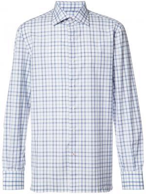 Рубашка в клетку Isaia. Цвет: белый