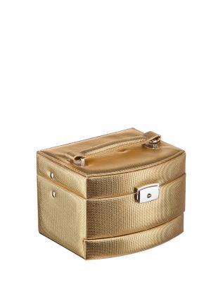 Шкатулка S-501D искусственная кожа ПВХ Ismat. Цвет: золотистый