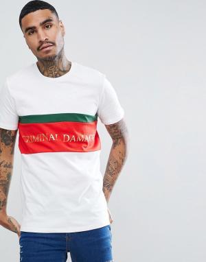 Criminal Damage Белая обтягивающая футболка с логотипом. Цвет: белый