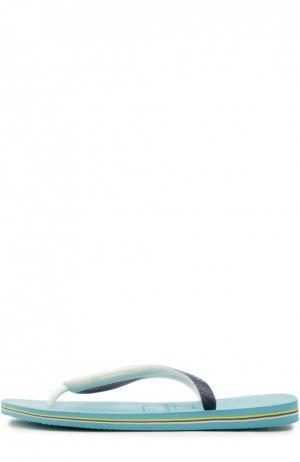 Резиновые шлепанцы Brasil Mix Havaianas. Цвет: светло-голубой