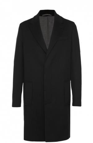 Однобортное пальто из смеси шерсти и кашемира Berluti. Цвет: черный