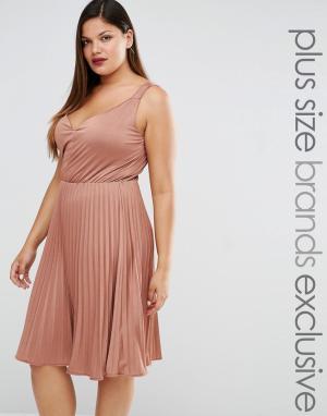 Truly You Плиссированное платье миди. Цвет: розовый
