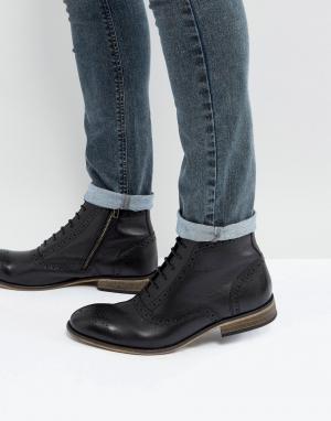 ASOS Черные кожаные ботинки-броги с подошвой натурального цвета. Цвет: черный