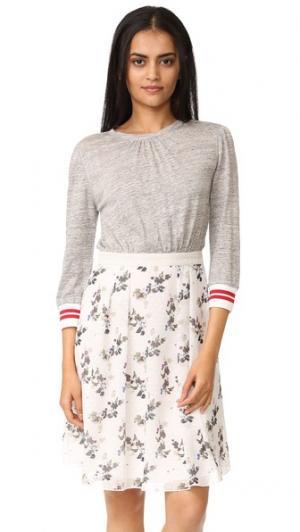 Платье с Т-образным лифом Warm. Цвет: серый меланж/белый с цветочным рисунком