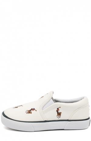 Слипоны из эко-кожи с нашивками Polo Ralph Lauren. Цвет: белый